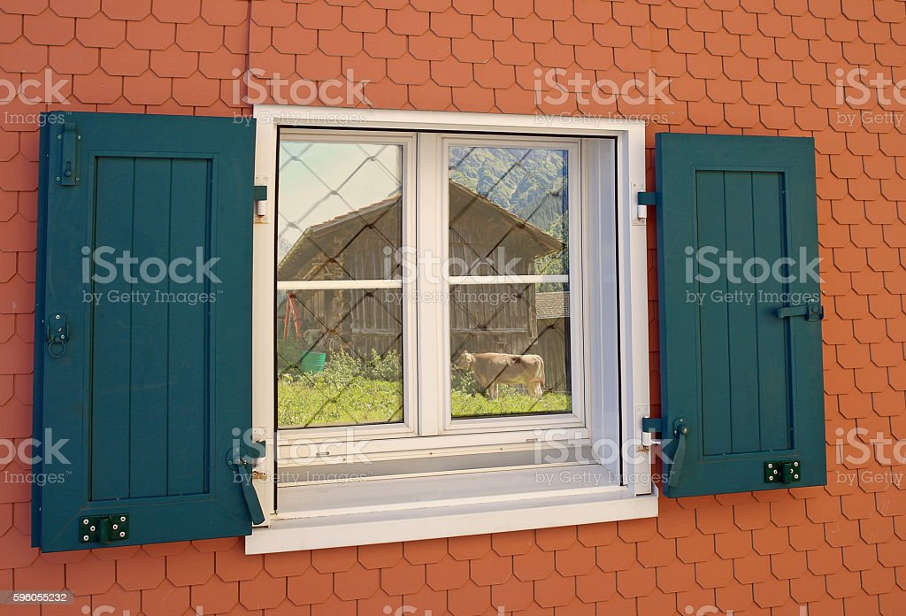 window with green shutters royalty-free stock photo