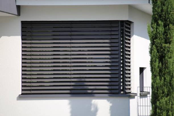 Window with modern blind, exterior shot stock photo