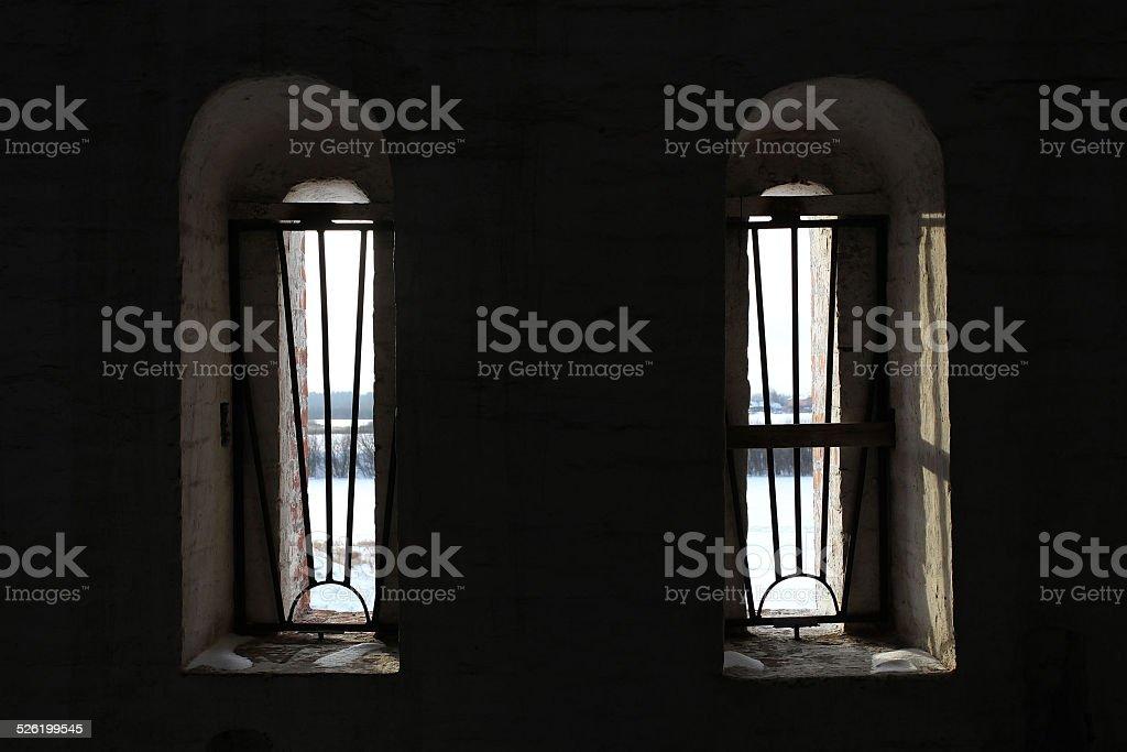 window with prison bars stock photo