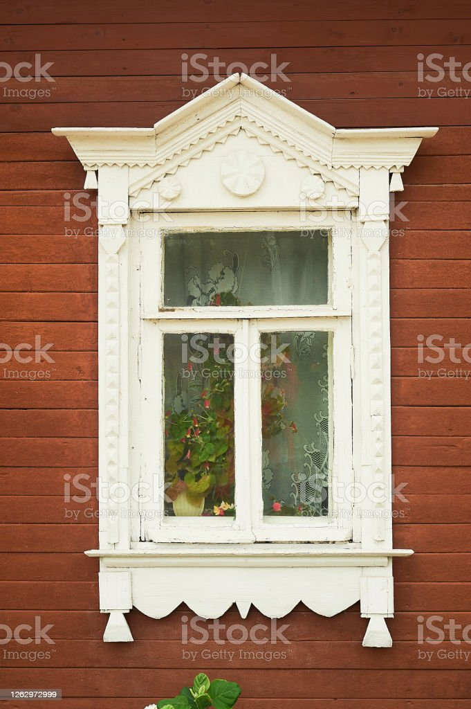 A Window With Tiles In An Old Wooden Russian House Historic Centerbeautiful Window Design Stock Photo Download Image Now Istock