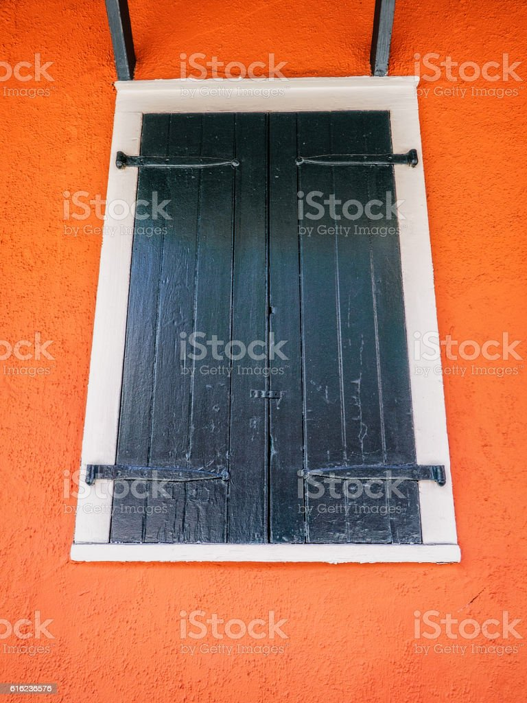 Window With Wood Shutters In The French Quarter New Orleans