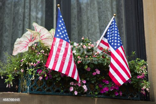 A window box with pink petunias and the American flag.