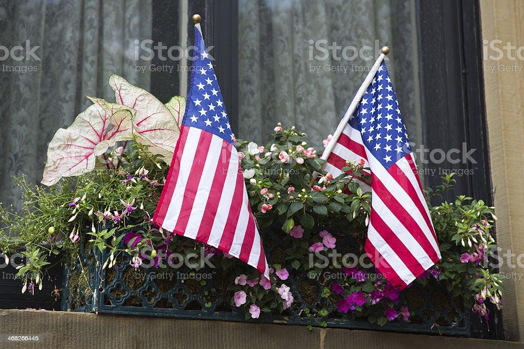 Windowbox with US Flag stock photo