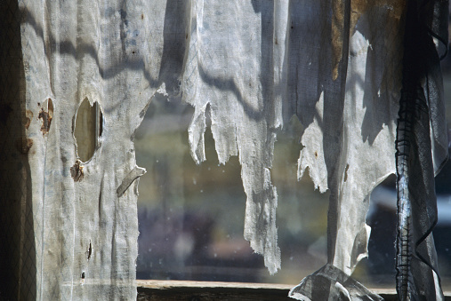 Windown Curtain old and torn at Bodie State Park