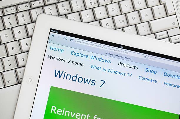 Windows 7 website on Apple ipad2 stock photo