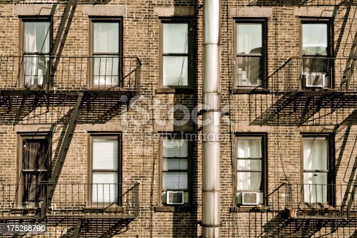 Windows Along Side Of Brick Building In New York City Stock Photo More Pictures Alley