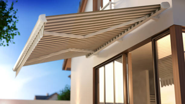 Windows and Awning 3d illustration canopy stock pictures, royalty-free photos & images