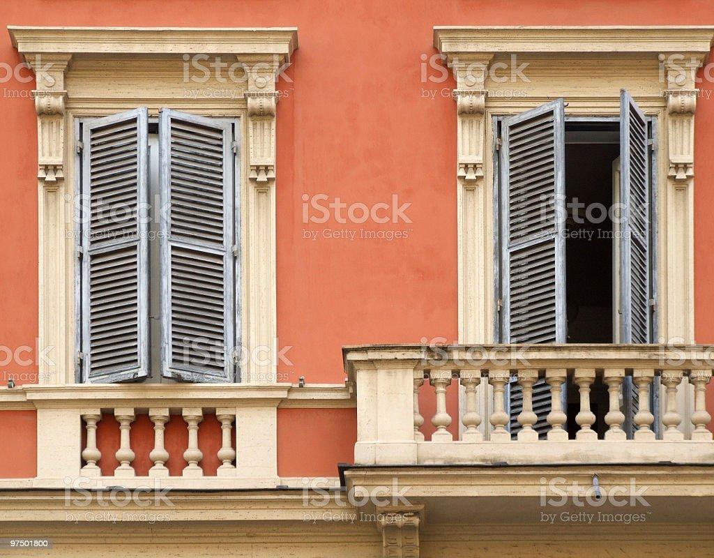 Windows and balcony in Rome royalty-free stock photo