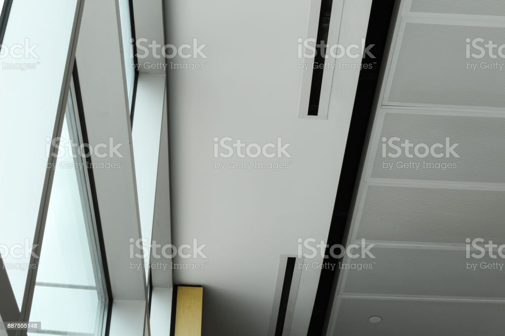 Windows and ceiling in Boston airport terminal, May 15 2017 stock photo