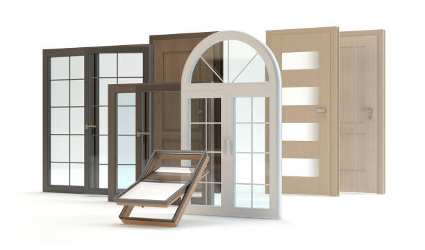 Windows and doors collection 3d illustration, white background pvc stock pictures, royalty-free photos & images