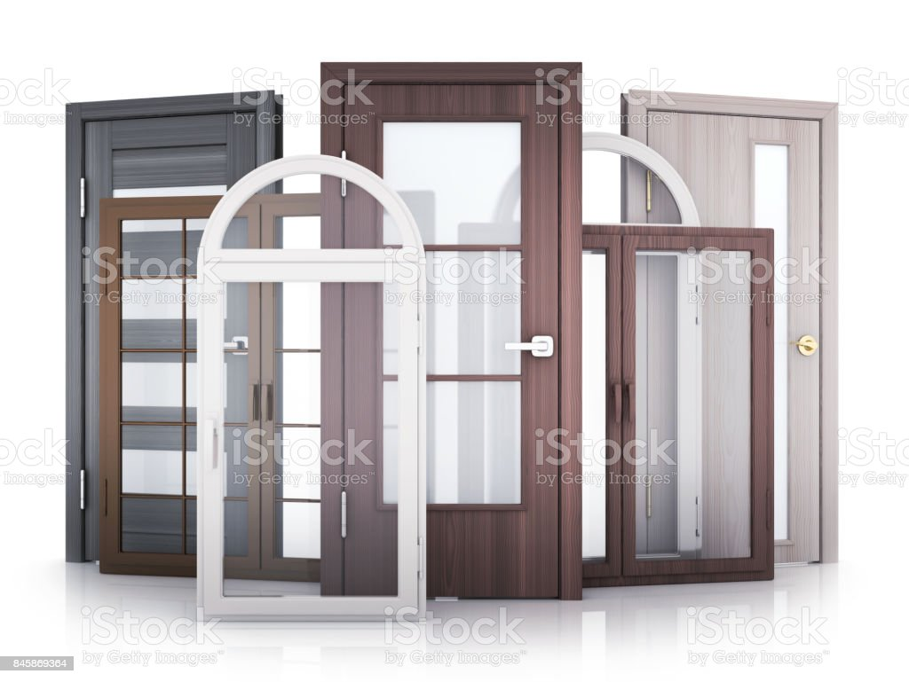 Windows and doors on white background stock photo