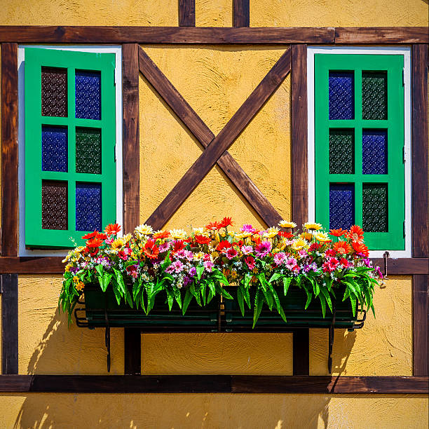 windows and flowerbox stock photo