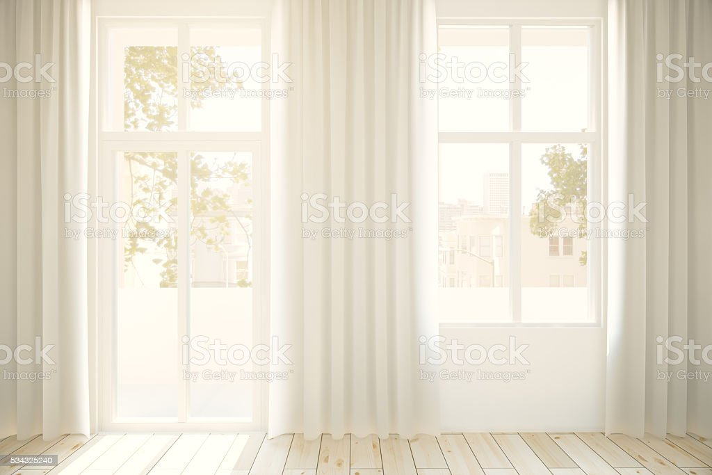 Windows and light curtains stock photo