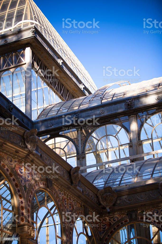 Windows and Roof of the Palacio de Cristal stock photo