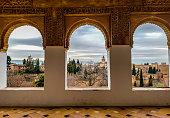 Windows at Alhambra de Granada, Andalusia, Spain