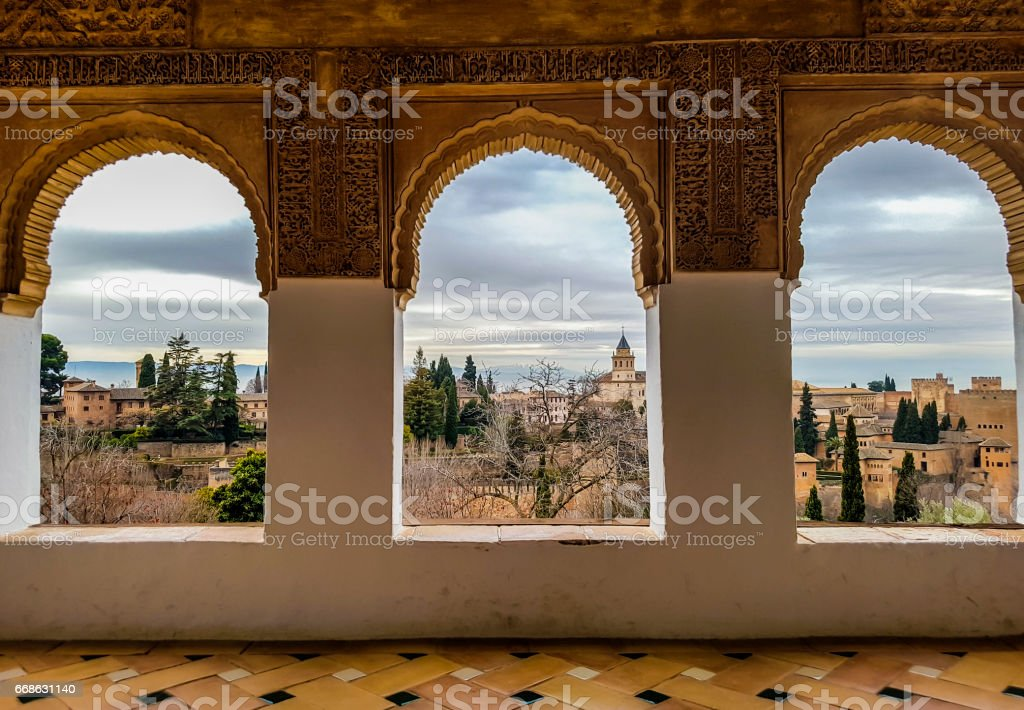 Windows at Alhambra de Granada, Andalusia, Spain - foto de acervo