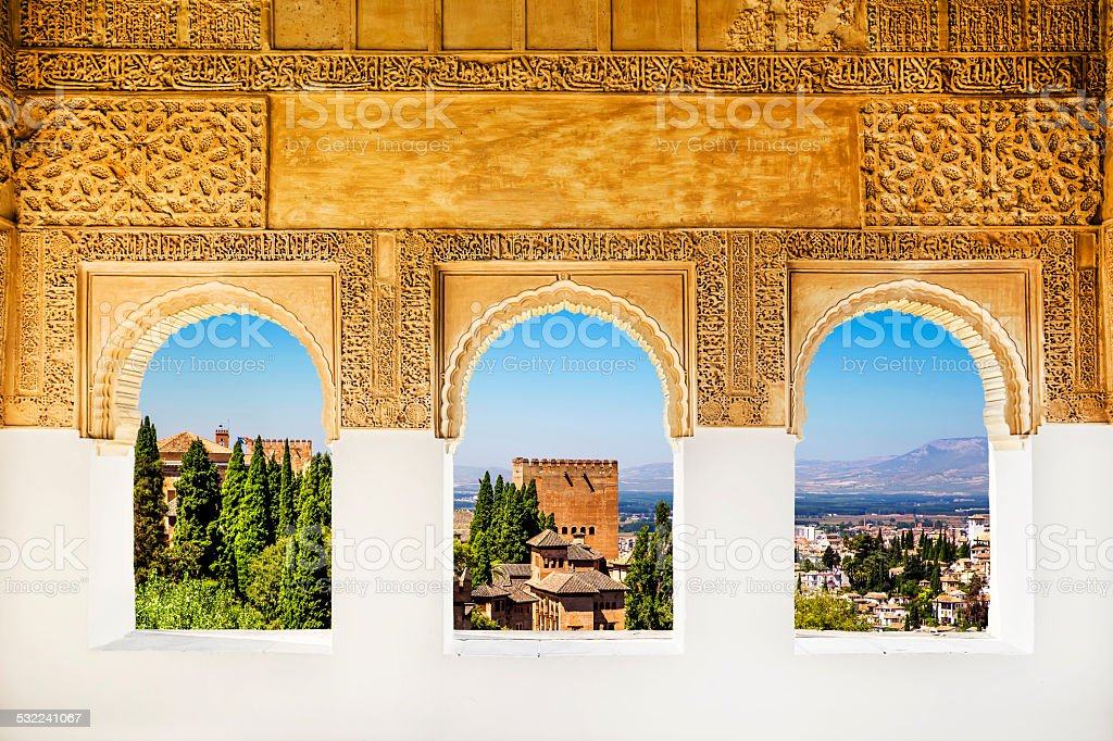Windows at the Alhambra, Granada, Spain. stock photo