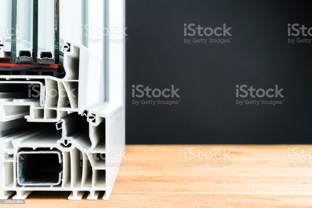 windows cross section, triple glass, double chamber stock photo