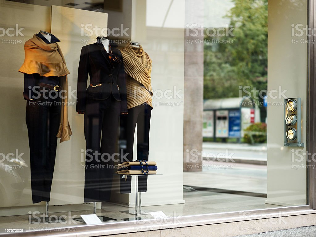 Windows Display with Elegant Clothing. Color Image royalty-free stock photo
