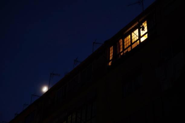 Windows illuminated in the night