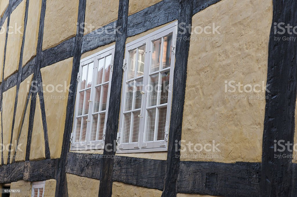 Windows in a crocked wall royalty-free stock photo