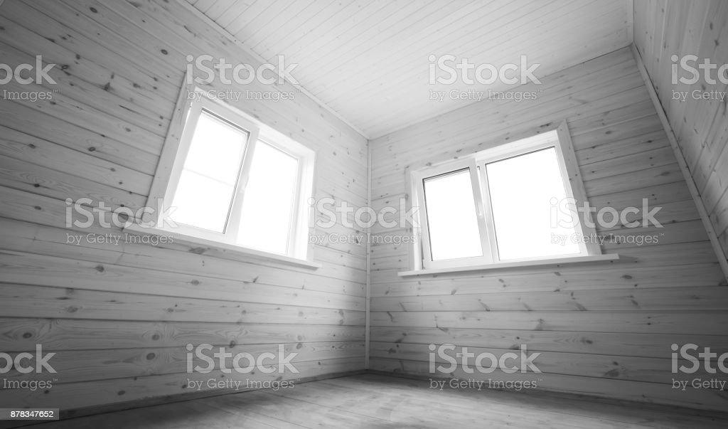 Windows in empty room, wooden interior stock photo