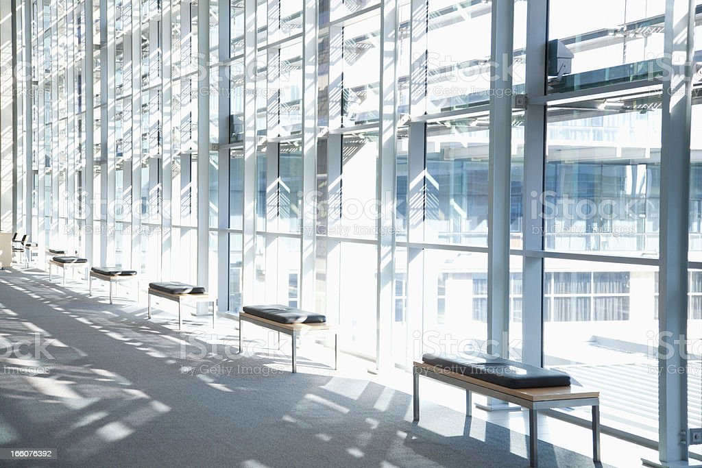 Windows in lobby of office building royalty-free stock photo