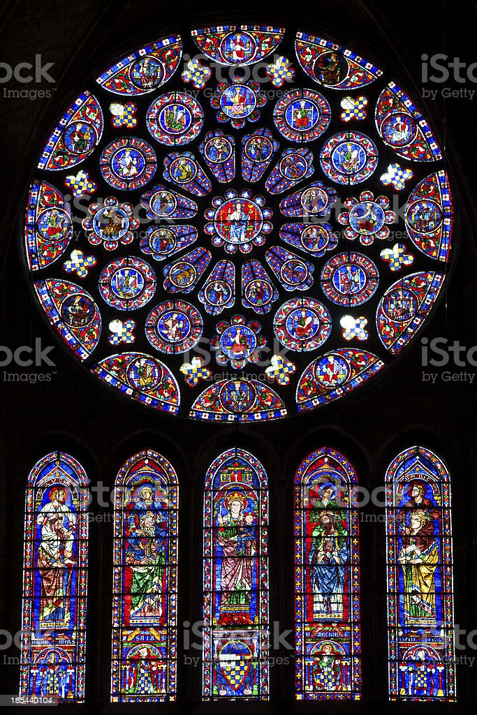 Windows in the cathedral of Chartres stock photo
