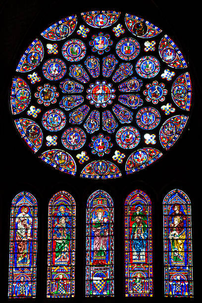 windows in the cathedral of chartres - rose window stock pictures, royalty-free photos & images