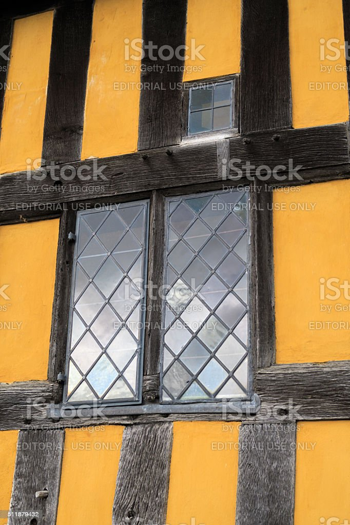 Windows in the gatehouse to Stokesay Castle. stock photo