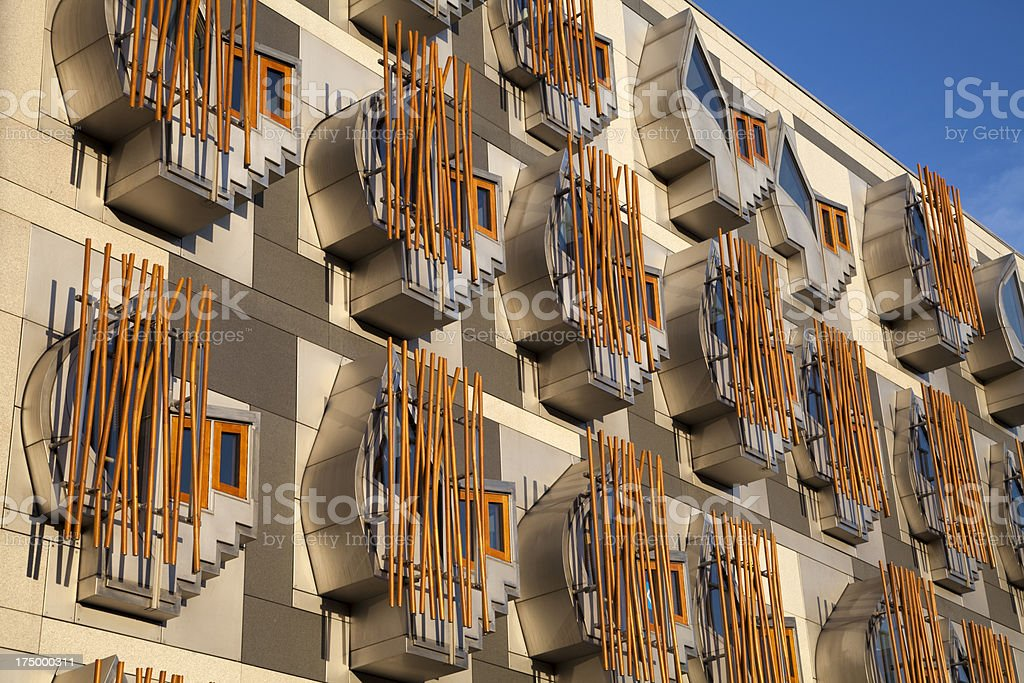 Windows in the Scottish Parliament Building, Edinburgh stock photo