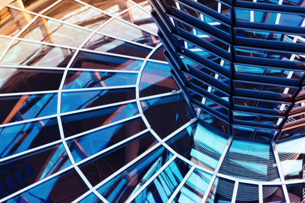 windows inside reichstag dome - cupola stock pictures, royalty-free photos & images
