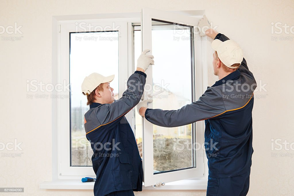 windows installation worker stock photo
