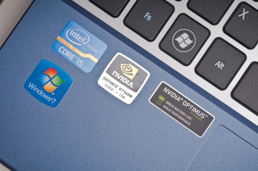 Windows Intel And Nvidia Sticker On Laptop Computer Stock Photo - Download Image Now