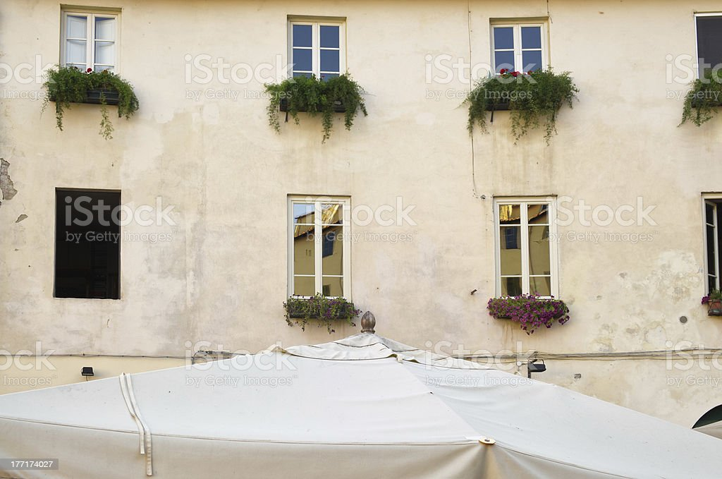 Windows looking on Piazza dell'Anfiteatro, Lucca stock photo