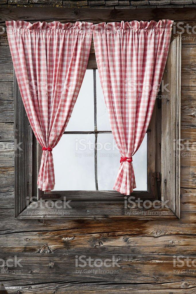 Windows made of wood stock photo