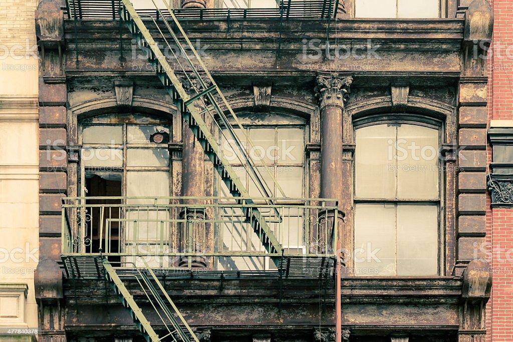 Windows NYC Brownstone stock photo