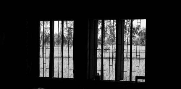 Windows of a dark room unique photo stock photo