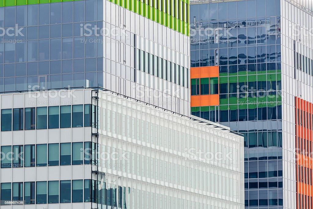Windows of a modern business building exterior. Horizontal image stock photo