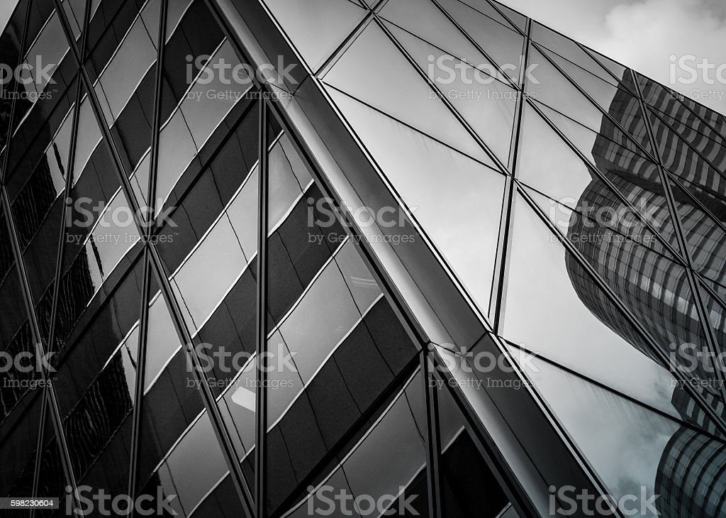 windows of business building with B&W color foto royalty-free