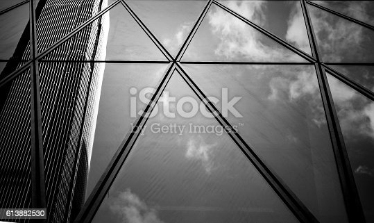 istock windows of business building with B&W color 613882530
