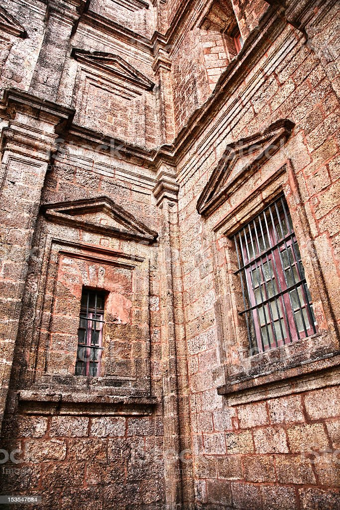 Windows of church in Old Goa India royalty-free stock photo