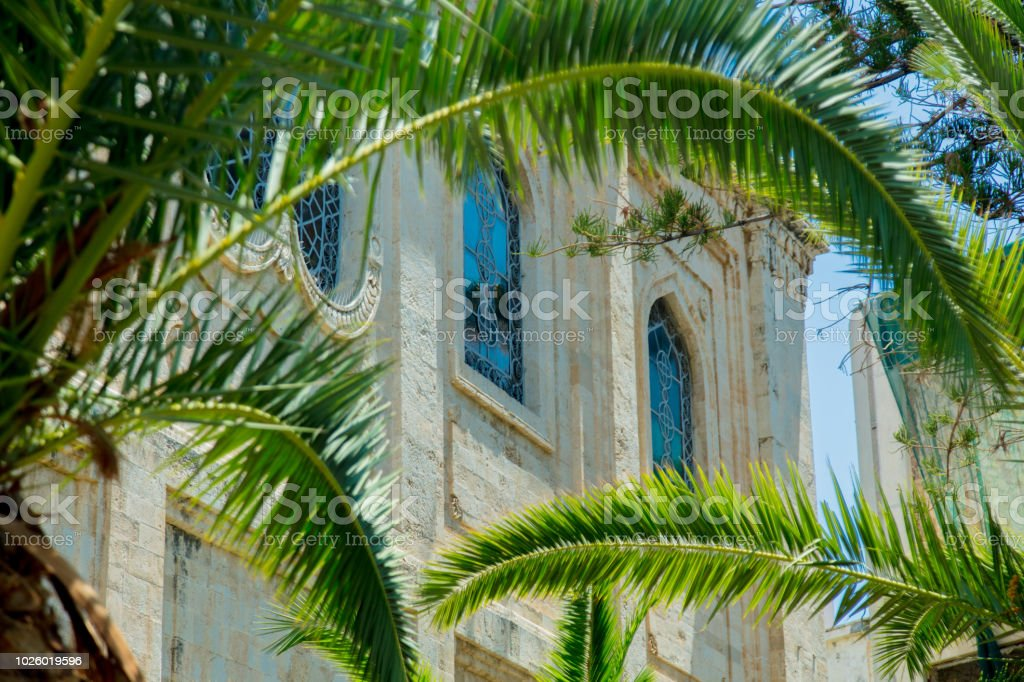 windows of city hall of Heraklion stock photo