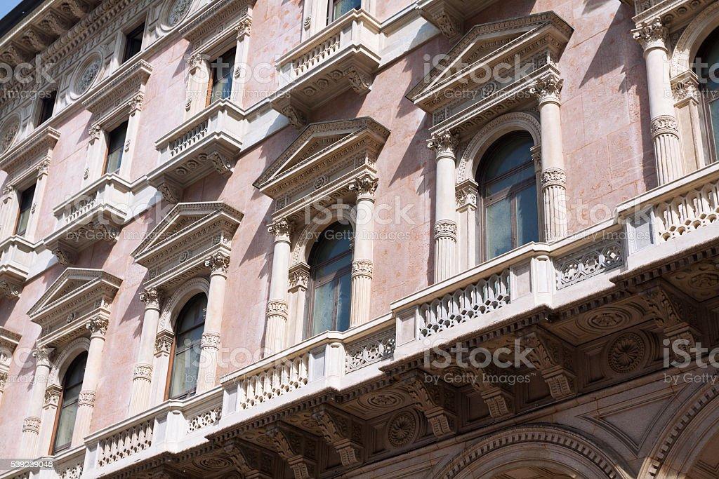 Windows of Galleria Vittorio Emanuele foto de stock libre de derechos