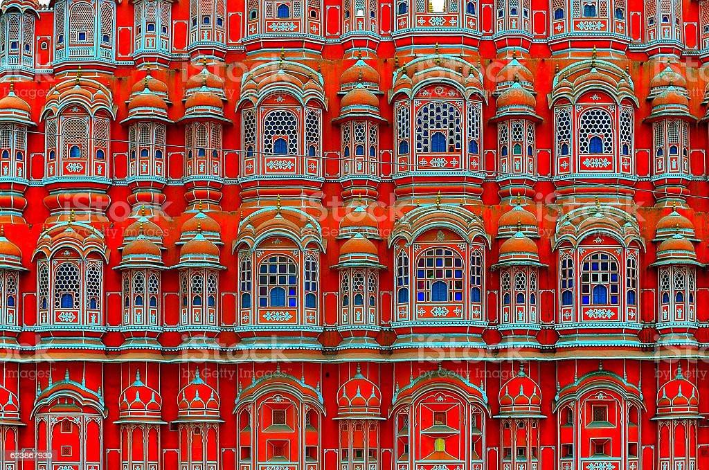 Windows of Hawa Mahal stock photo