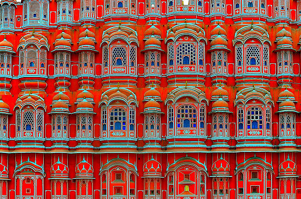 windows of hawa mahal - india foto e immagini stock