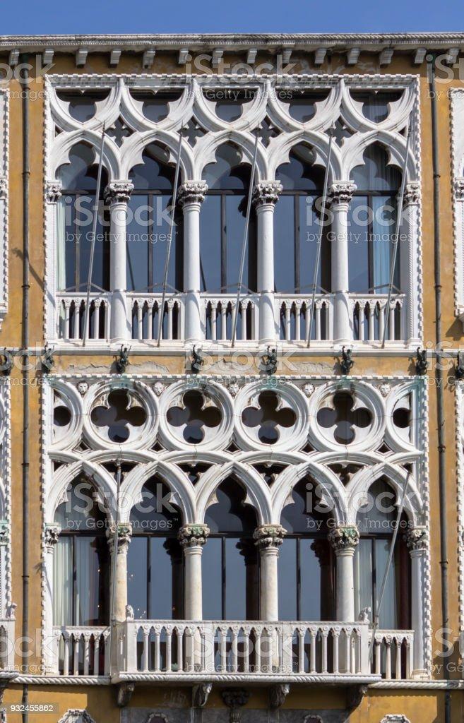 Windows of Palazzo Cavalli Franchetti in Venice stock photo