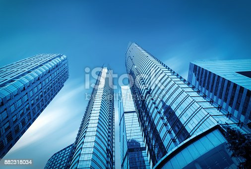 istock Windows of Skyscraper Business Office in qindao,china 882318034