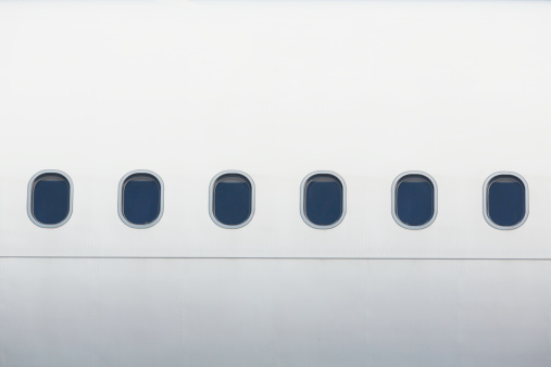 Windows of the airplane in white