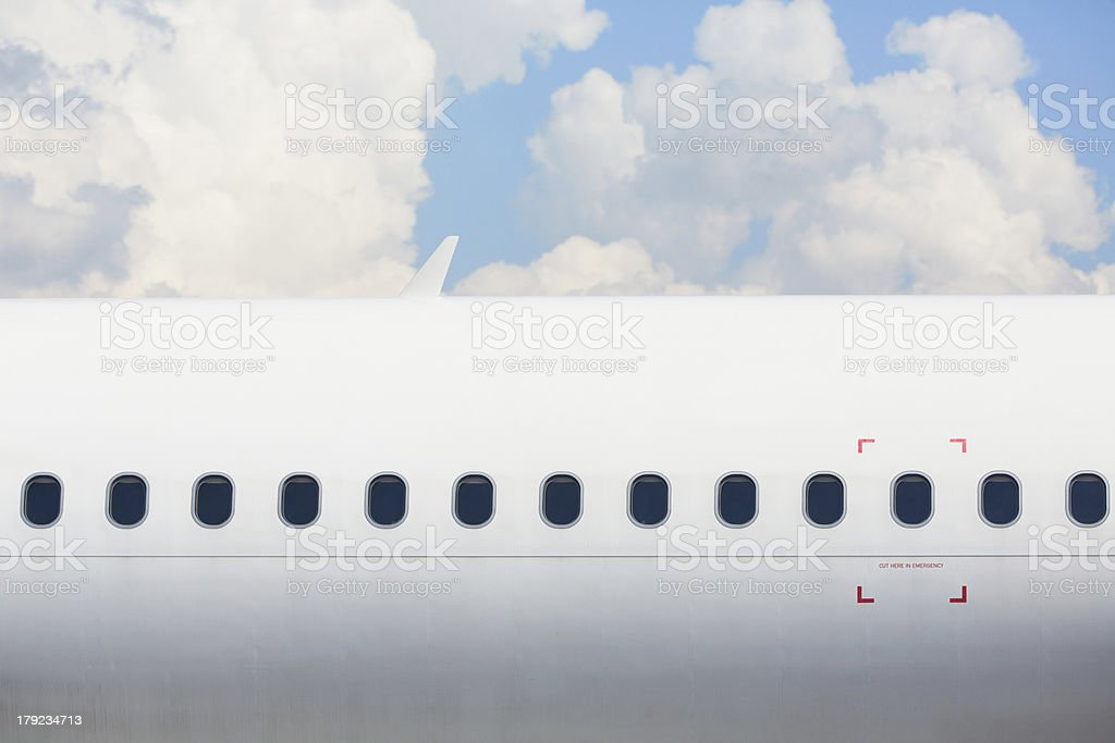 Windows of the airplane stock photo